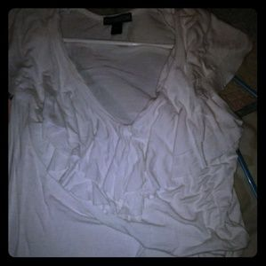 Womans large white shirt with ruffles.